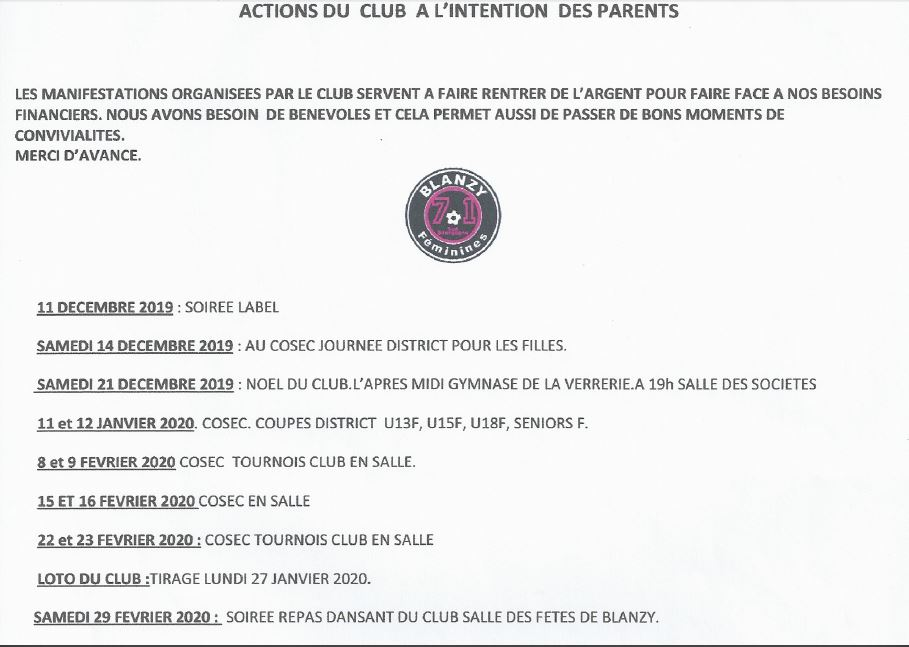 Manifestations du club 2019-20